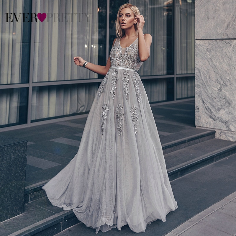 Robe Tulle Prom Dresses Long Women Ever Pretty Elegant A Line V Neck Lace Applique Formal Wedding Pa