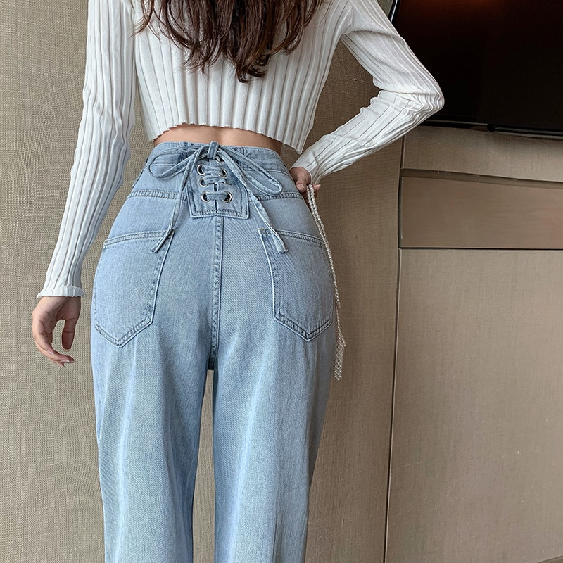 Xuan Ya High Waist Lyocell Jeans Women's Super Soft Slimming Height Lace up Straight Chic Wide-Leg P