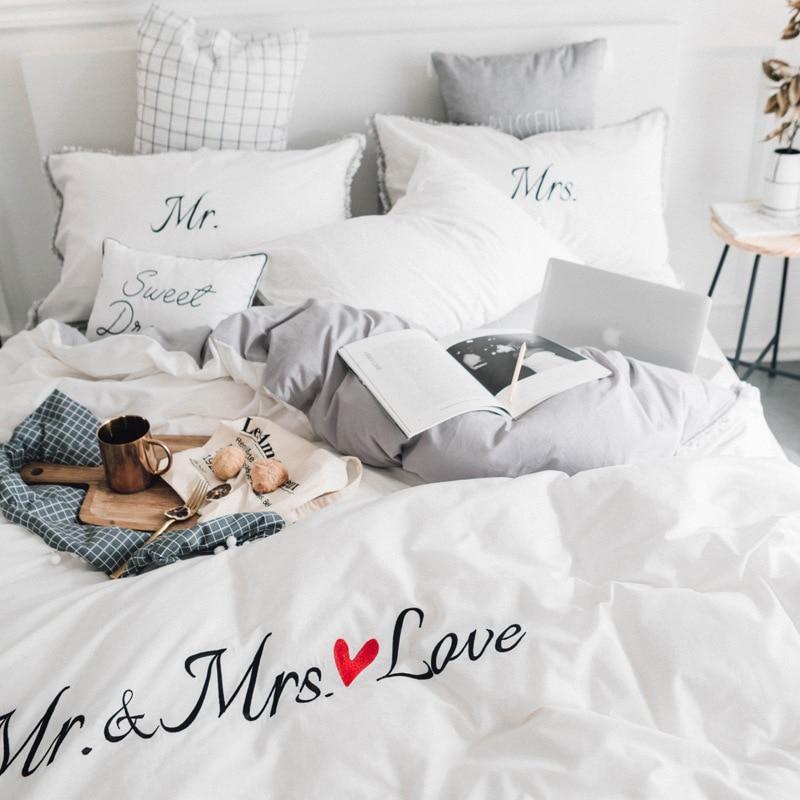 Algodón Simple borla fundas de edredón lindo y cómodo ropa de cama bordado de puro algodón cama de cuatro piezas par ropa de cama
