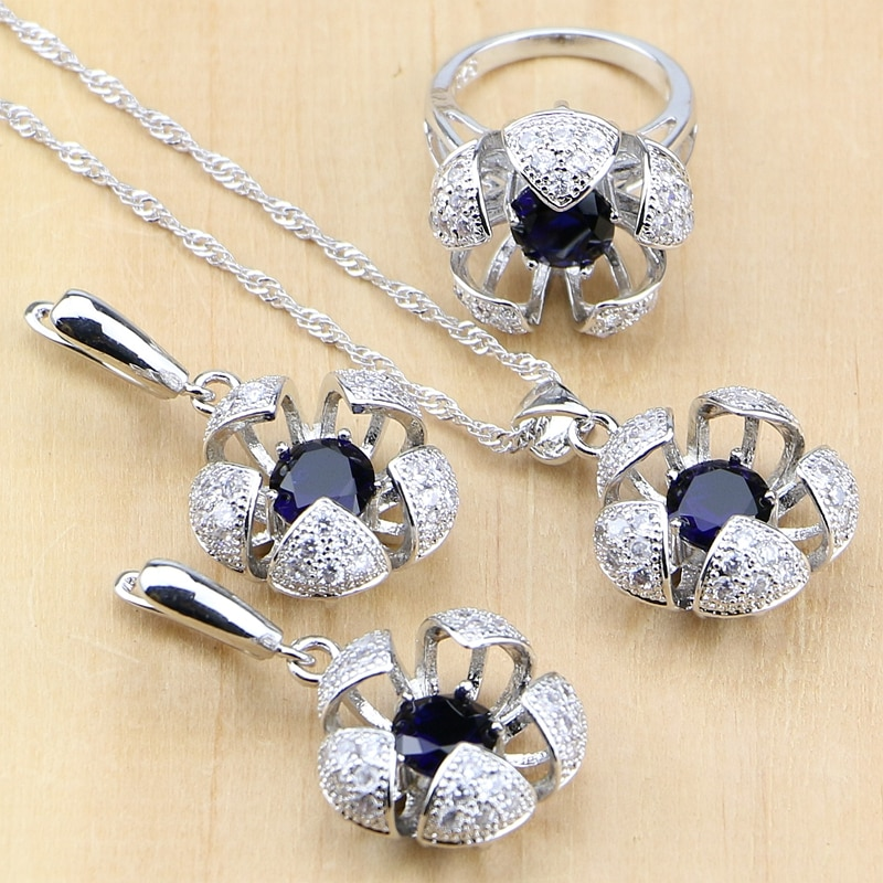 925 Sterling Silver Jewelry Blue Cubic Zirconia with Beads Jewelry Sets for Women Wedding Earrings/Pendant/Ring/Necklace Set 925 sterling silver opal stone wedding bridal jewelry sets earrings for women costume jewelry pendant necklace ring set gift box