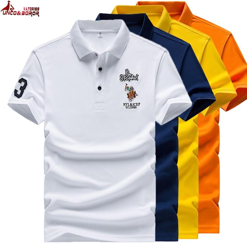 Verano bordado Big horse hombres manga corta negocios de calidad camisa polo de solapa hombres vestido camisa marca Jersey Polo Hombre talla M ~ 4XL