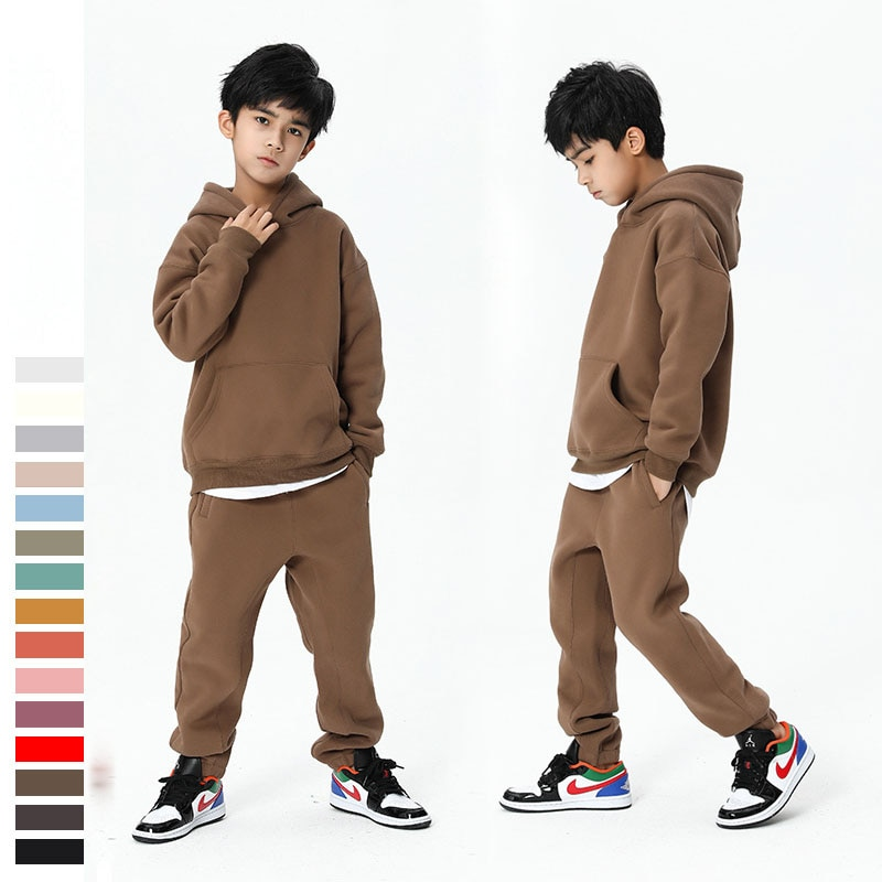 Teen Winter Boys Clothing Set 2020 New Casual Fleece Thicken Hoodie Sport Pant Two Pieces suit for Boys Clothes Kids Outfits