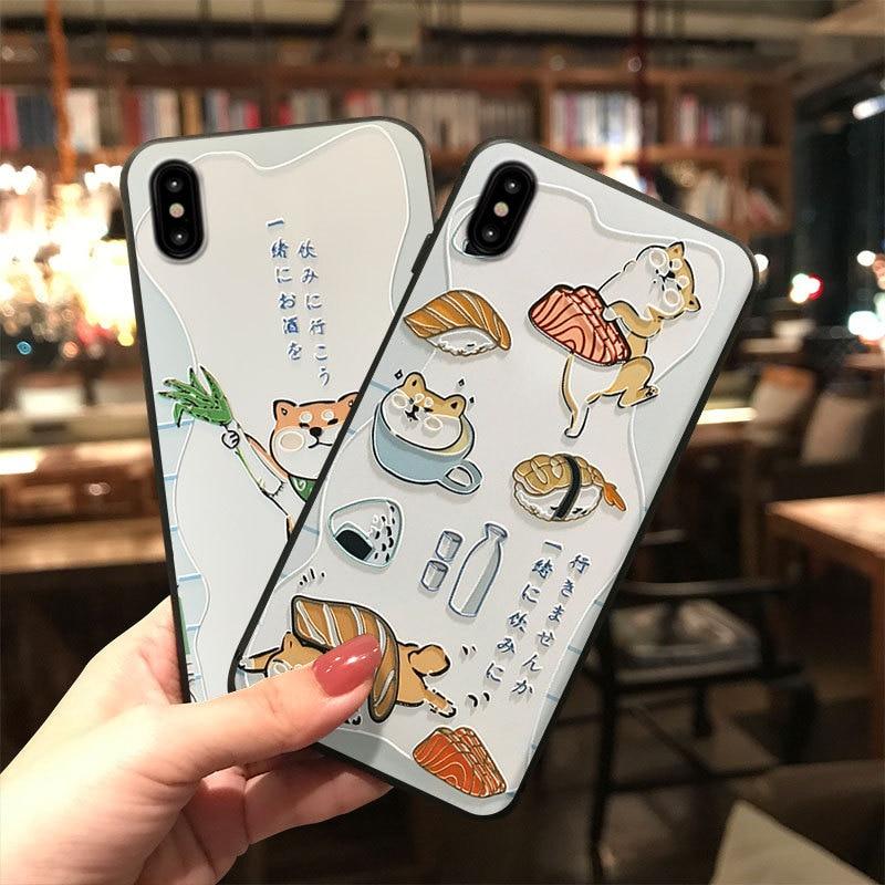Funda de teléfono Shiba Inu Sushi japonesa para Samsung Galaxy S10e, S8, S9, S10, S20, Ultra Plus, Note 8, 9, 10 Plus, funda de TPU suave