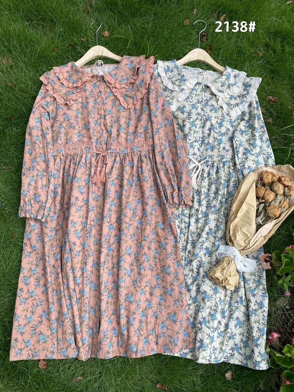 موري بنات الحلو طبقة مزدوجة طوق فستان زهري الخريف كم طويل فساتين عادية