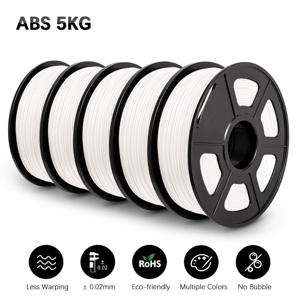 GOHIGH 5 Rolls ABS Filament 5KG Materials 1.75mm For 3D Printer Excellent Impact Strength For Printing
