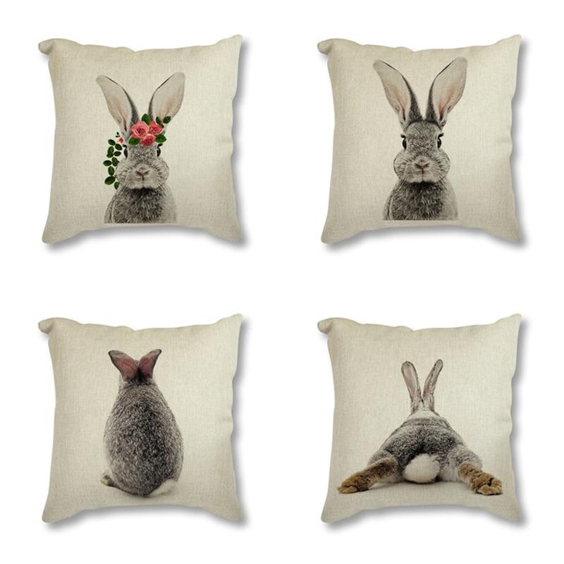 Animal Rabbit Deer Flower Crown Nursery Printed Decorative Cushion Cover Pillow Case Nordic Cushion