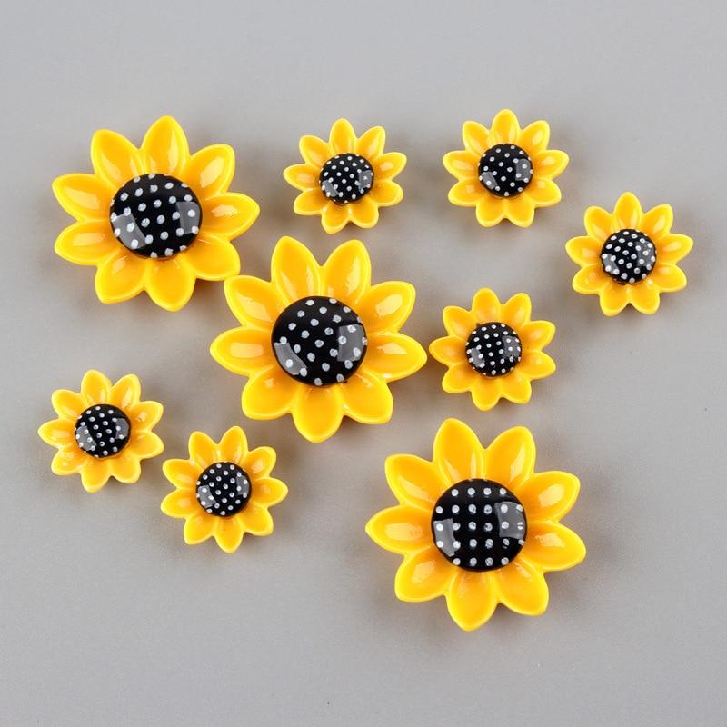 20 piezas 15/20/26mm cabujón de resina de girasol fondo plano decoración de teléfono cabujones de fondo plano para arcos accesorios DIY Scrapbooking