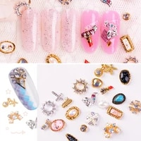 10pcs vintage nail boho series charms multi shapes alloy jewelry 3d gem accessories for manicure uv gel diy decor supplies