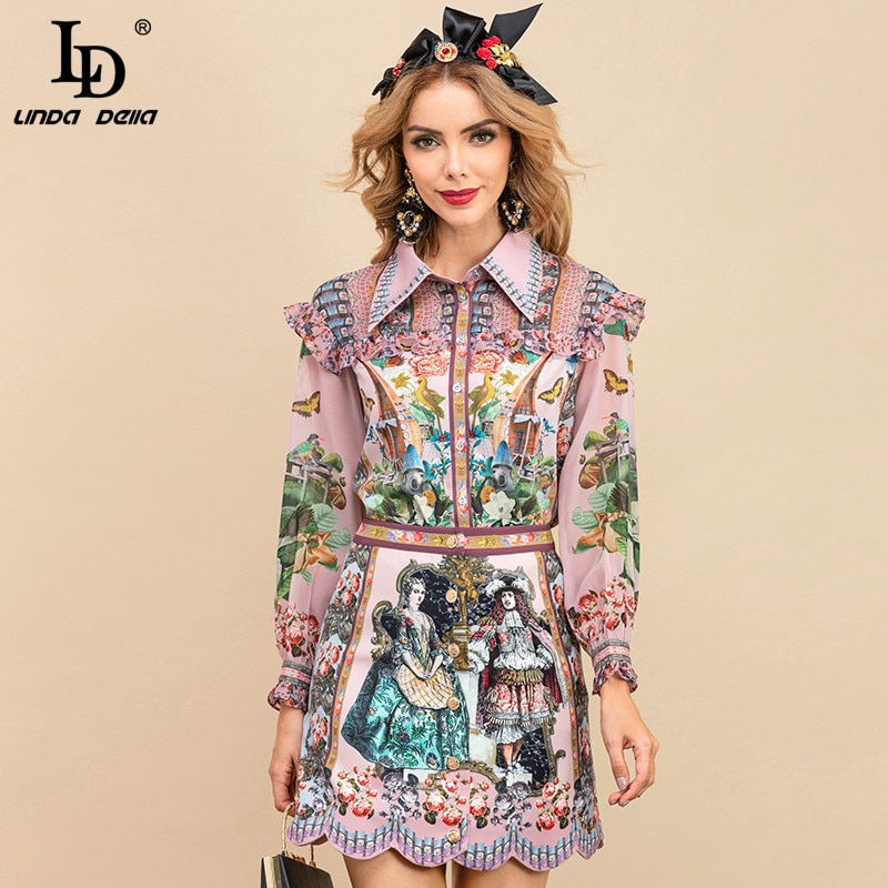 LD ليندا ديلا الخريف مصمم تنورة مجموعات المرأة طويلة الأكمام الأزهار طباعة قميص عالية الخصر Skirts التنانير القصيرة 2 قطع دعوى
