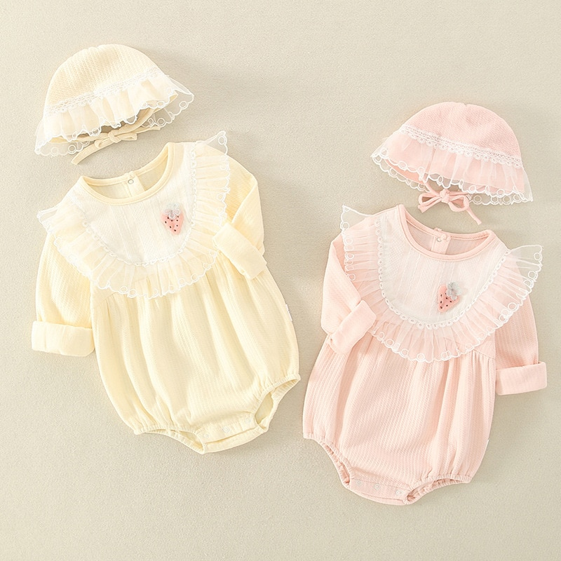YG brand children's clothing spring baby one-piece clothes with hats out girls lovely cotton triangl