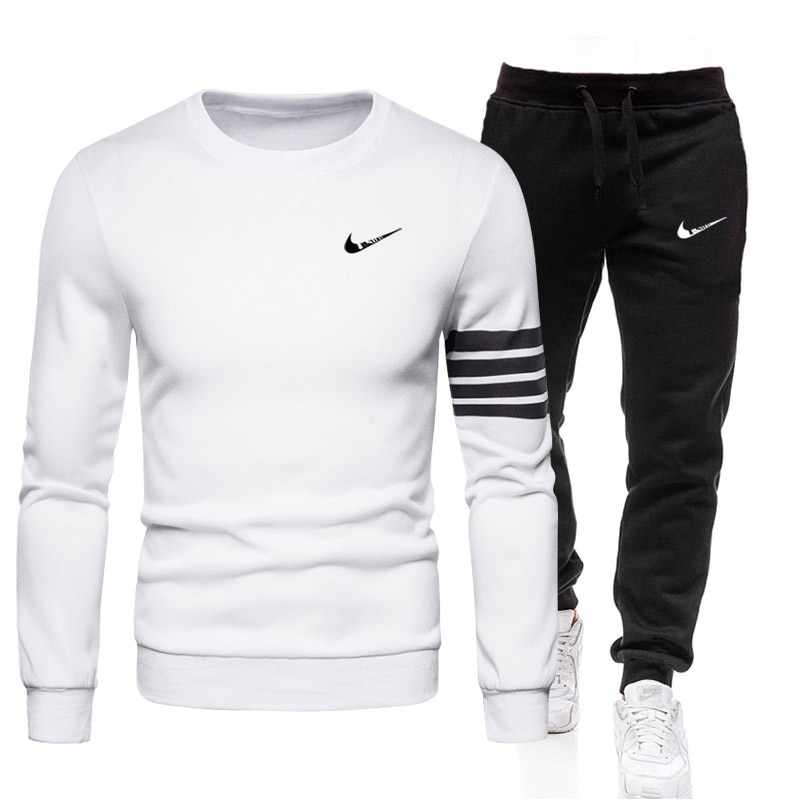 Autumn Winter IКNIKEС Men's Pullover O-Neck Tracksuits Drawstring Casual 2-piece Sets Printing Lon