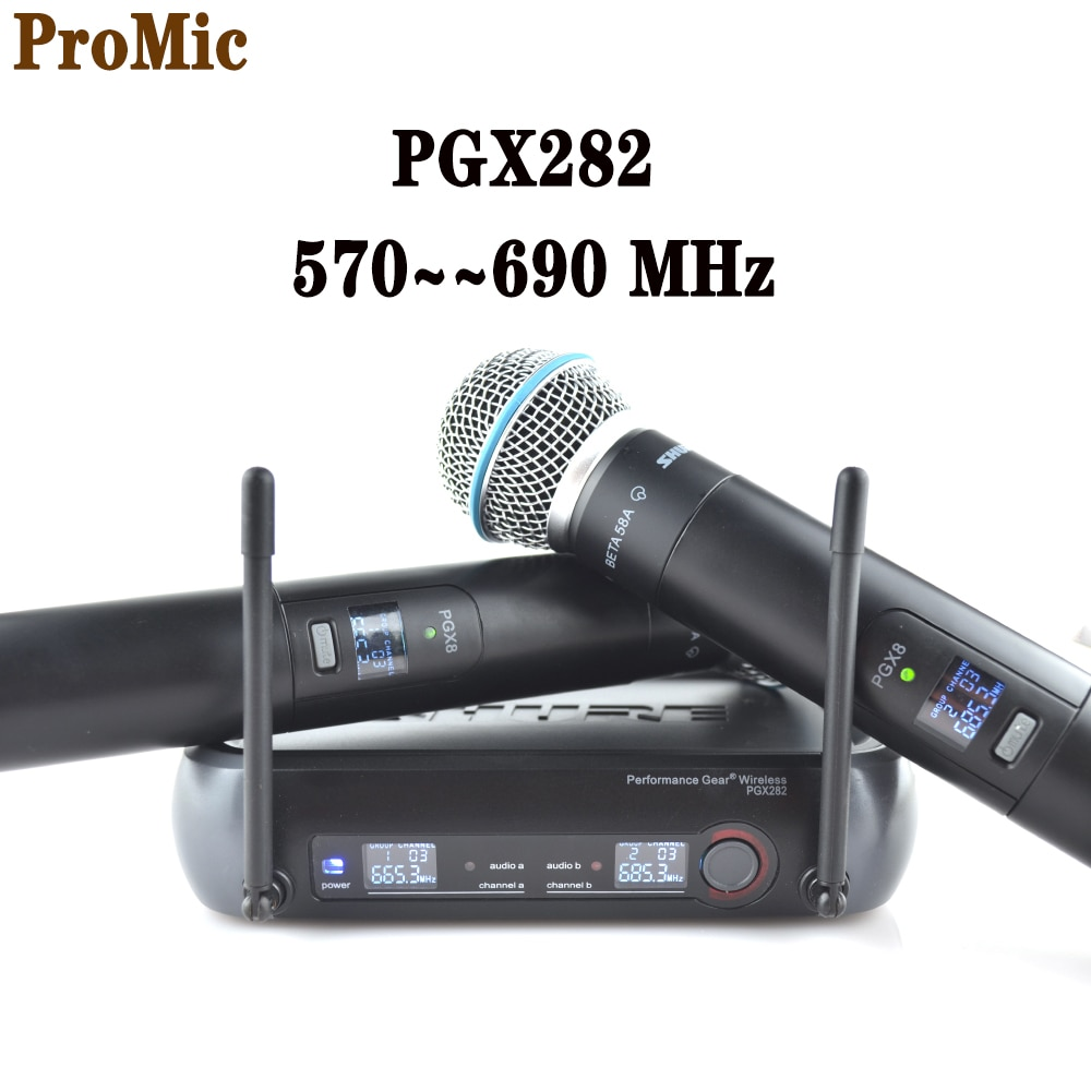 Pgx282 الصف المهنية ميكروفون لاسلكي مزدوج التردد rophone النظام ، pgx8 للمرحلة المهنية الغناء UHF ميكروفون لاسلكي
