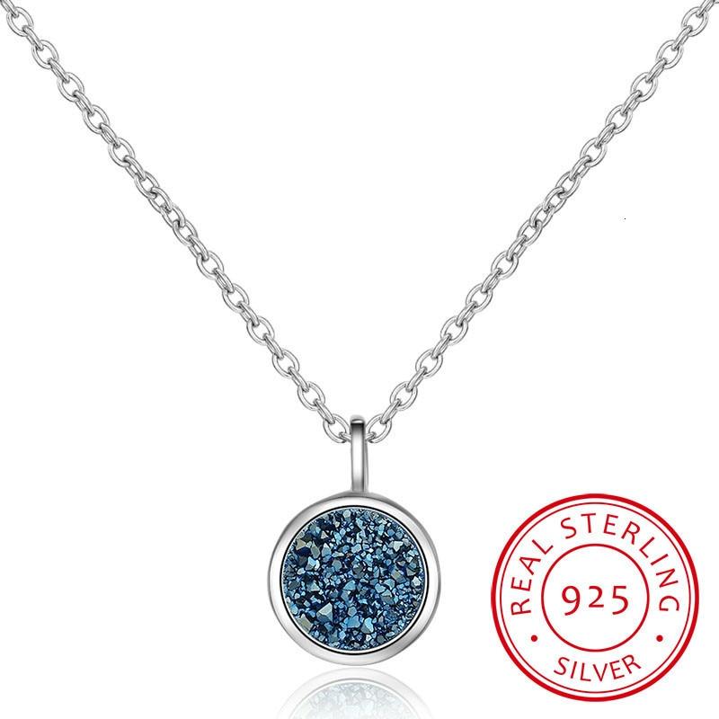 925 Colar de Prata Azul Cristal Fragmento Sonho Estrela Planeta Colar Para Mulheres Cadeia Gargantilha S-n373