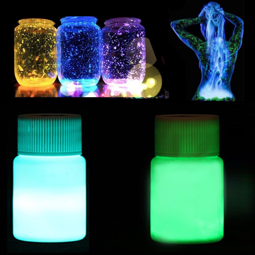20g Fluorescent Night Running Body Luminous Paint Glow in the Dark Acrylic Luminous Paint Bright Pigment DIY Luminous Nail Tools