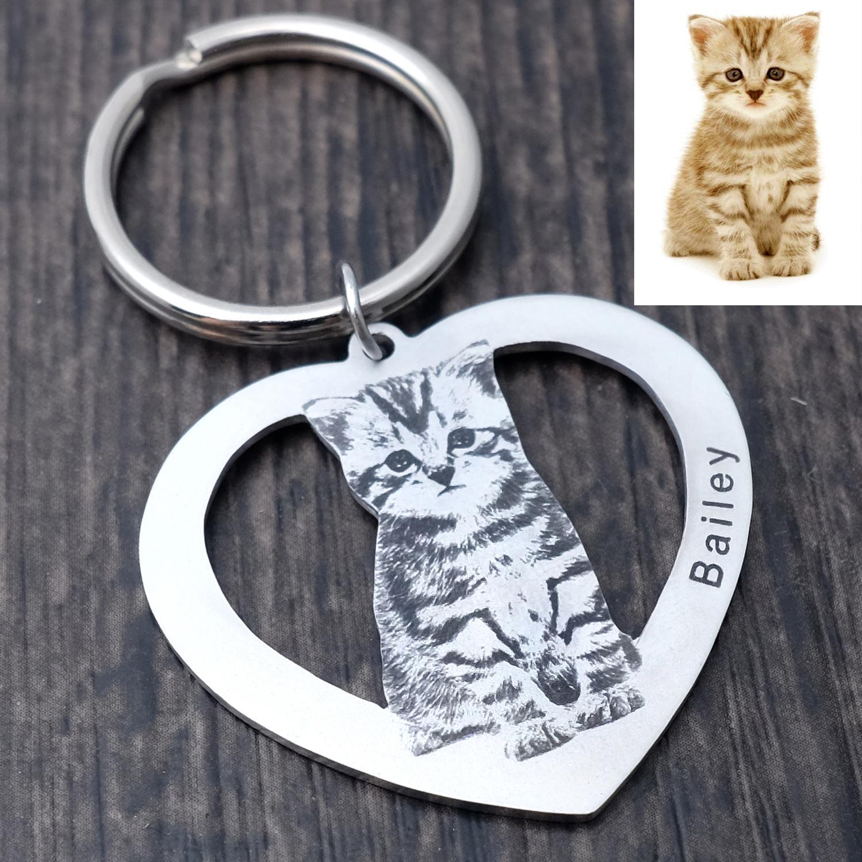 Porte-clés chat personnalisé, porte-clés chien personnalisé, porte-clés Photo Animal porte-clés personnalisé, cadeau amoureux des animaux de compagnie