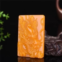 natural yellow jade zodiac dragon pendant necklace chinese hand carved jadeite fashion charm jewelry amulet men women luck gifts