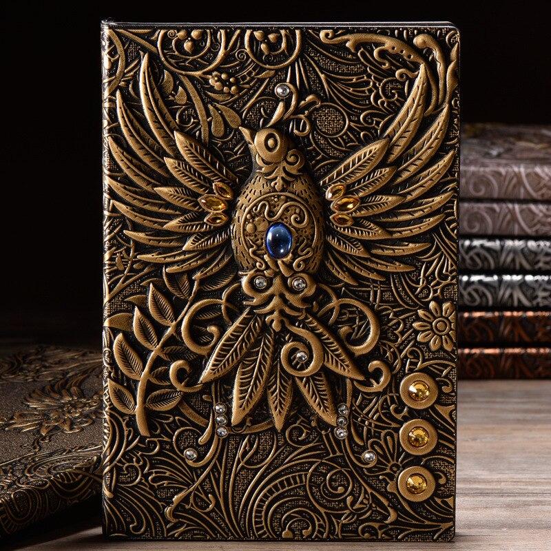 Gilding Anaglyph Phenix Notebook School Supplies Office Retro Planner Bronze Book Hardcover Planner Linedible Paper фото