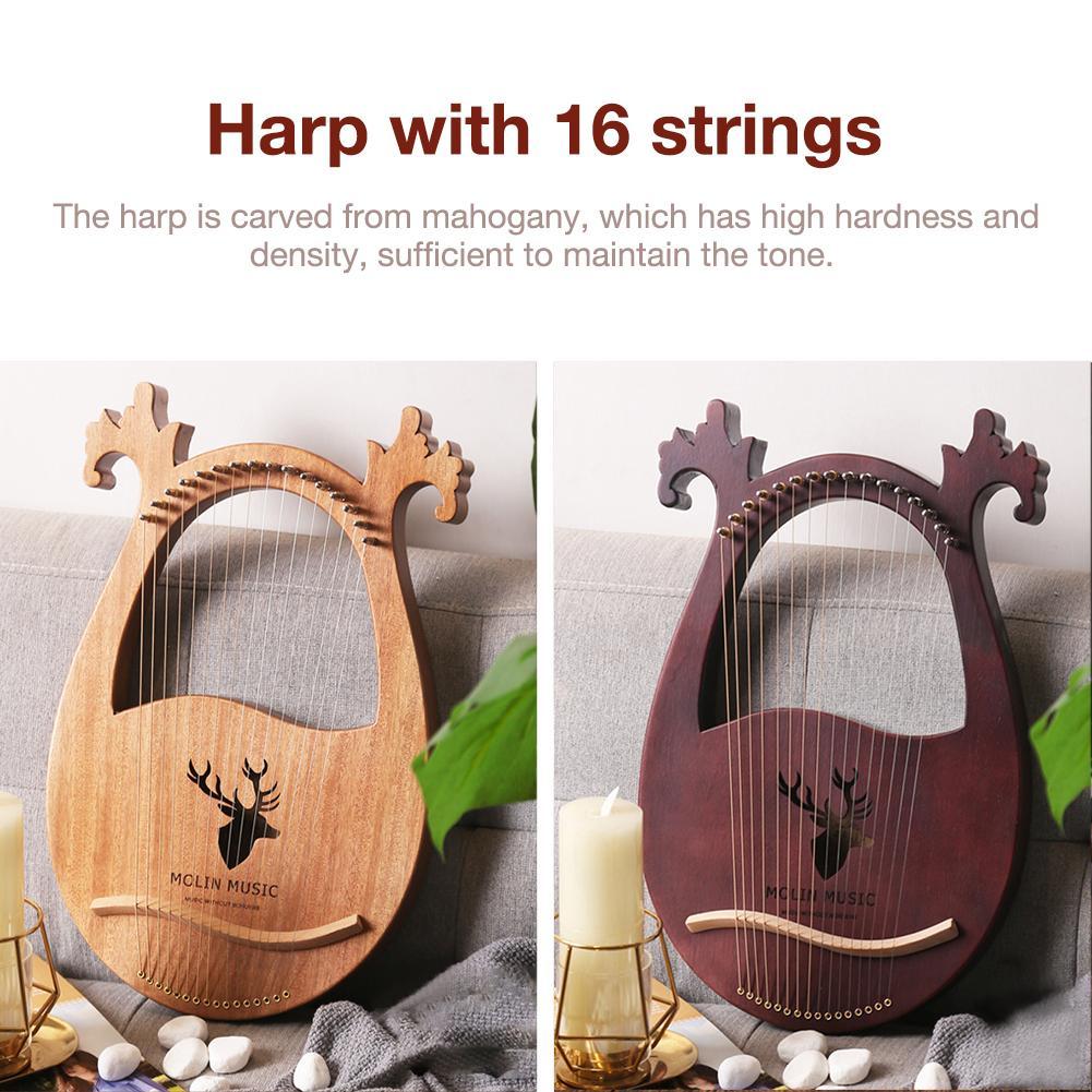 16-note Lyre Harp Set Hard Mahogany Hard Portable with Tuning Wrench Black Storage Bag Harp Set enlarge