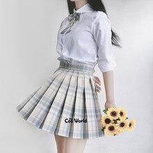 [Lemon Sea Salt] Girl's Summer High Waist Pleated Skirts Plaid Skirts Women Dress For JK School Uniform Students Cloths