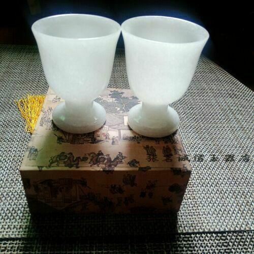 الصين اليدوية اليشم نحت الطبيعية الأبيض اليشم كأس النبيذ زوج