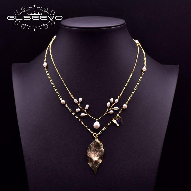 GLSEEVO 2020, collar con diseño de perlas naturales Vintage apilado, joyería de plantas para mujeres, chica de la boda, mejores regalos, GN0205