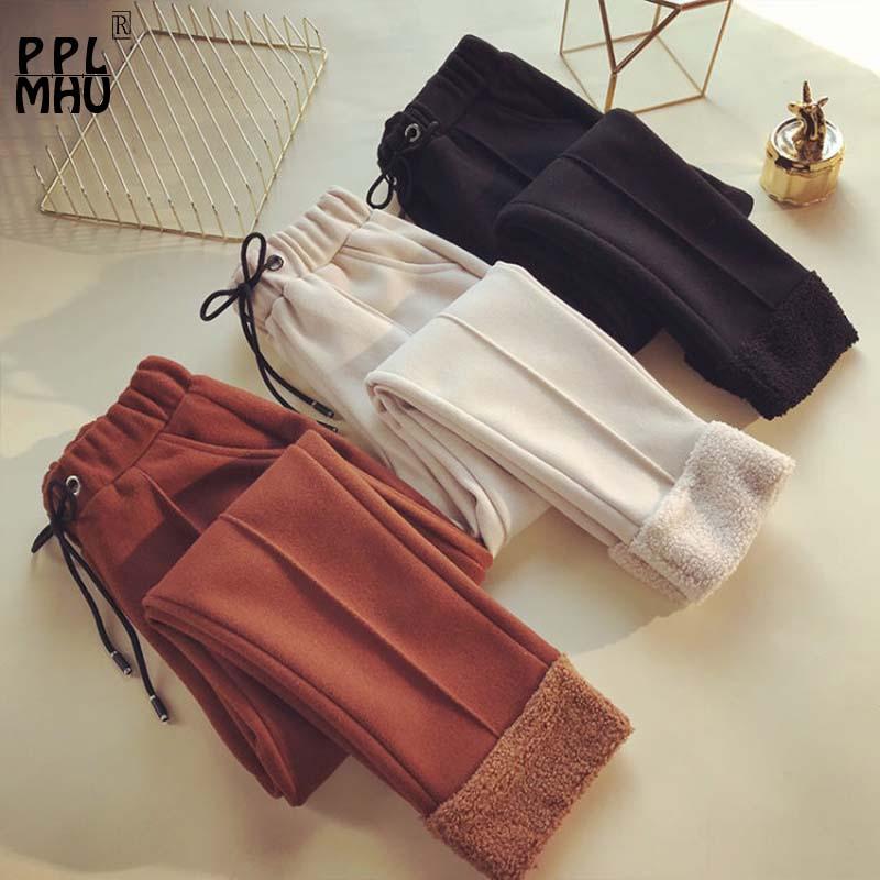 ¡Novedad de invierno! Pantalones de algodón y lana de cintura alta, pantalones coreanos informales gruesos de zanahoria para pies, pantalones cálidos de talla grande ajustados a la moda 2019.