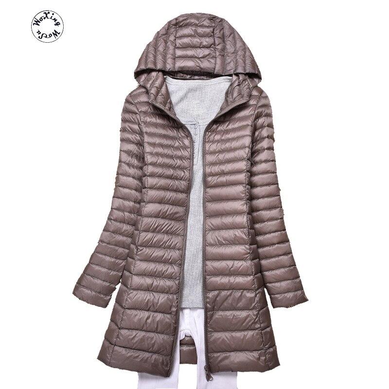 Куртка женская средней длины, приталенный модный пуховик с капюшоном, на белом утином пуху, размеры от S до 4XL, 4XL