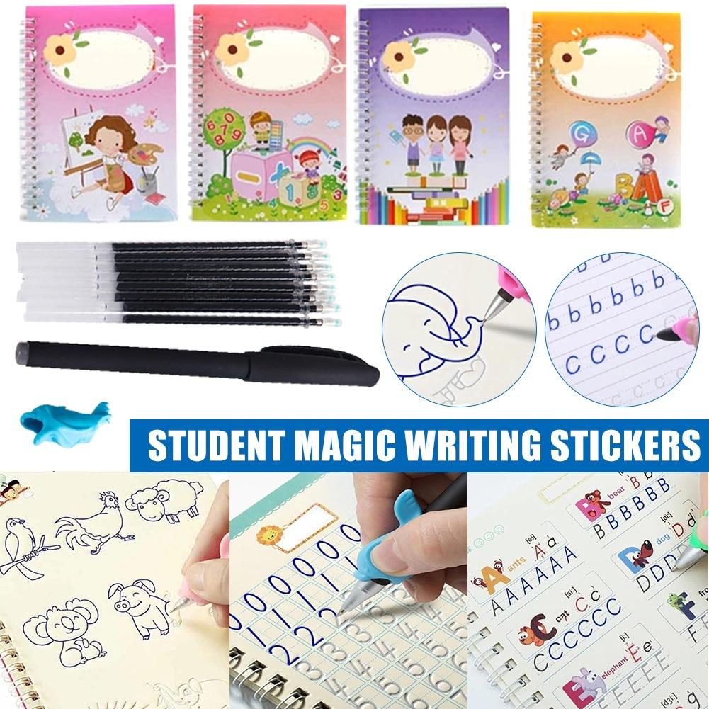 Em estoque caligrafia mágica que pode ser reutilizada escrita copybook conjunto para criança carta caligrafia escrita dropshipping