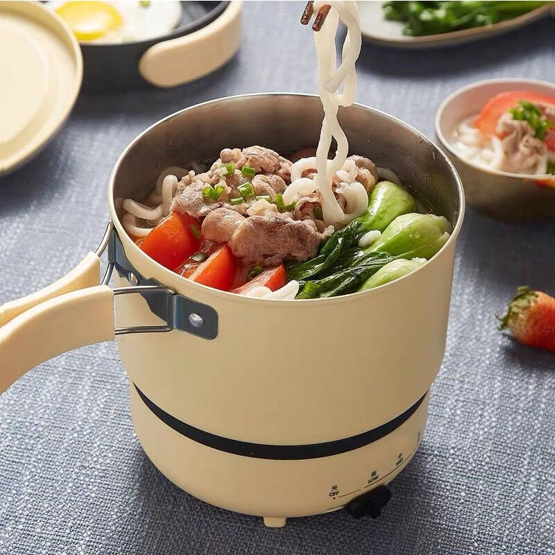 Olla caliente eléctrica de 220V, olla de arroz multifunción, olla de cocina de tipo dividido portátil, sartén antiadherente para viaje, cocina