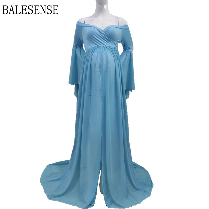 Chiffon High Split Pregnancy Gown Dresses Maternity Sexy Off Shoulder Puff Sleeve Pregnant Women Long Maxi Dress for Photo Shoot enlarge