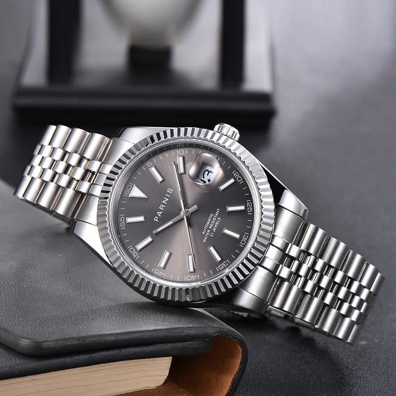Мужские часы с автоматическим перемещением Parnis, 39 мм, сапфировый серый циферблат, юбилейная Дата, Miyota 8215