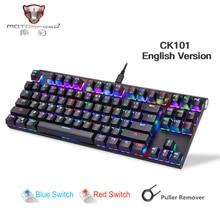 Motospeed CK101 filaire clavier mécanique métal 87 touches rvb bleu rouge commutateur jeu LED rétro-éclairé tablette bureau russe ordinateur Gamr