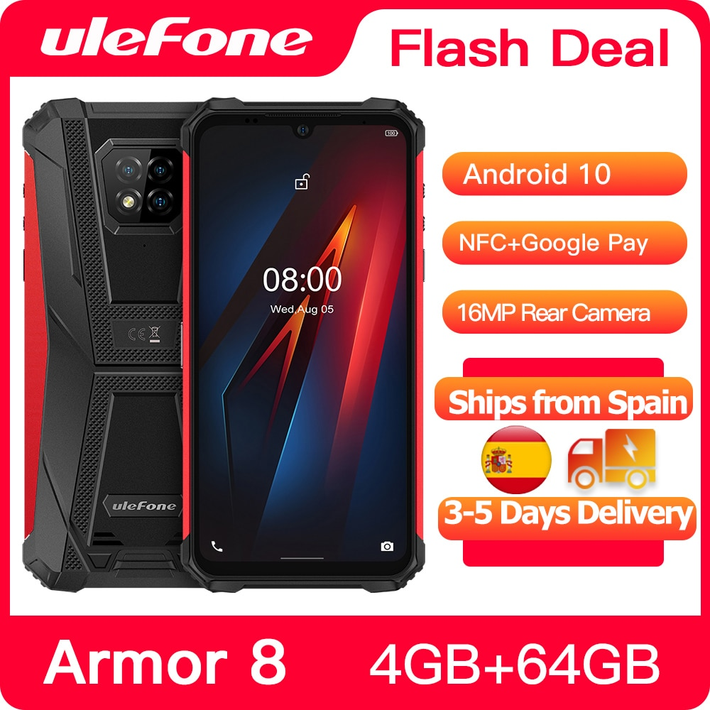 Ulefone Armor 8 Rugged Mobile Phone Android 10 Helio P60 4GB+64GB Phone Octa-core 6.1 inches Waterpr