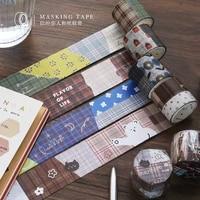 1 pcs vintage grid collage washi tape diy planner diary scrapbooking decoration masking tape japanese stationery