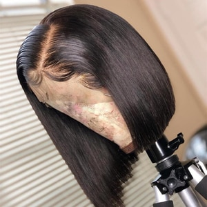 Glueless Jet Black Hair Free Part Lace Front Wig Blunt Cut Short Bob Heat Resistant Synthetic Silky Straight Wigs For Luck Women