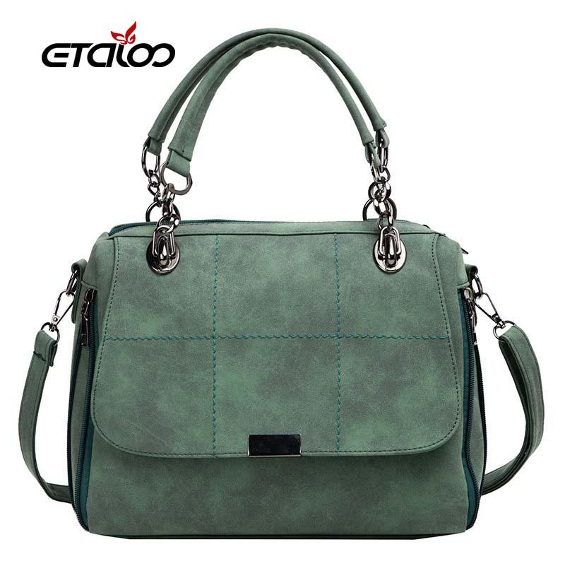 Matte Women Handbag Scrub Female Shoulder Bags Large Capacity Matcha PU Leather Lady Totes Boston Bag for Travel Hand Bags 2020