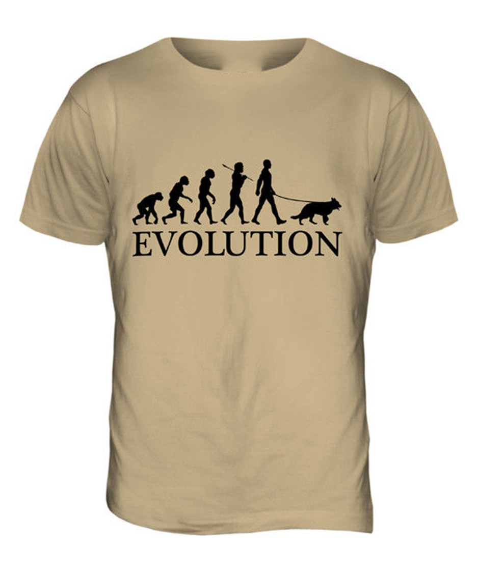 Camiseta del hombre de la evolución del pasador alemán para hombre Camiseta camiseta del estilo del verano del caminador del regalo del amante del perro