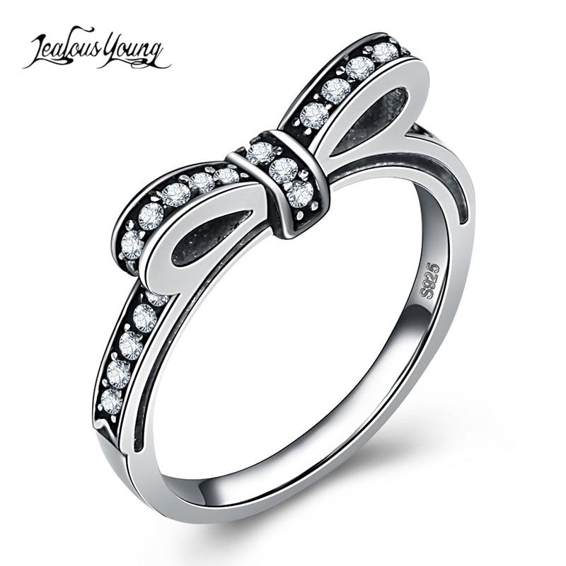 Bonito anillo apilable de Color plateado con nudo arco brillante, anillo Micro pavé CZ, anillos de fiesta para mujer, joyería de regalo para el Día de San Valentín