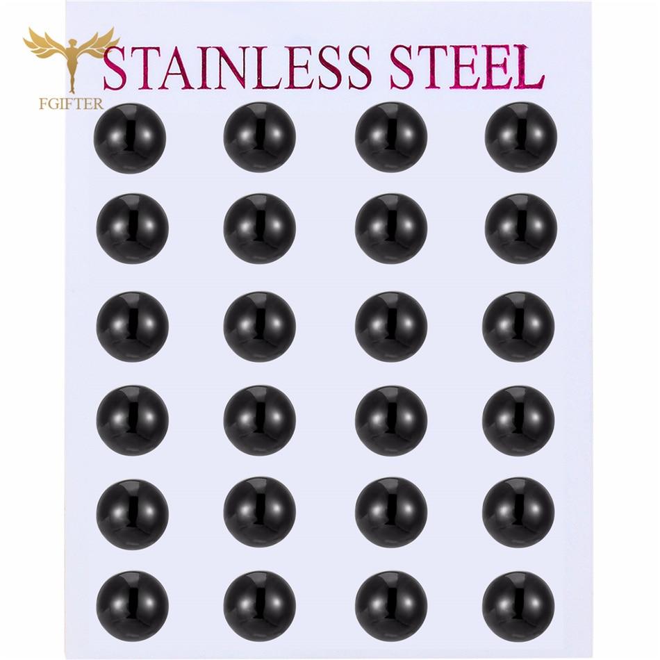 AliExpress - Punk 2-8mm Ball Earring Men Women Girls Small Big Black Stud Earrings Set Minimalist JewelryWholesale