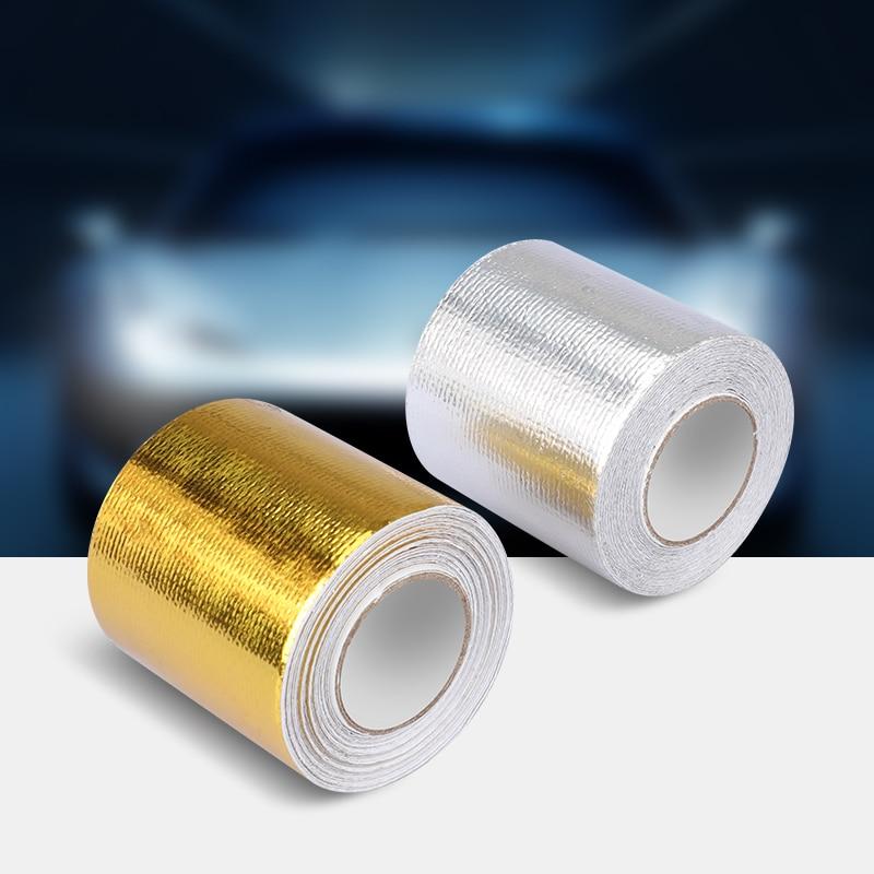 Автомобильная алюминиевая лента 5x500 см, звукоизоляционный тепловой экран, светоотражающий самоклеящийся воздухозаборник двигателя, униве...