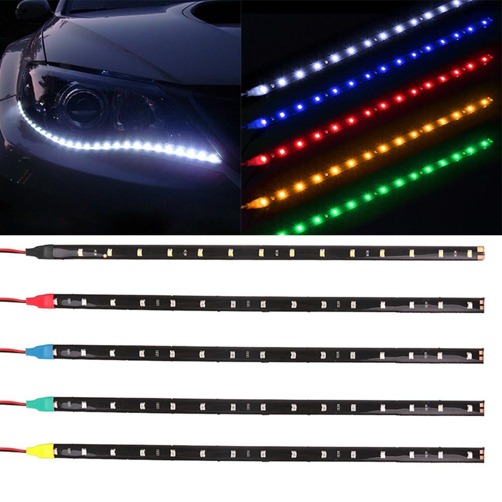 "1PCS  30cm Car Flexible LED Strip Light  Power 12V 11.8""15SMD Waterproof LED Daytime Running Light Decorative Car DRL"