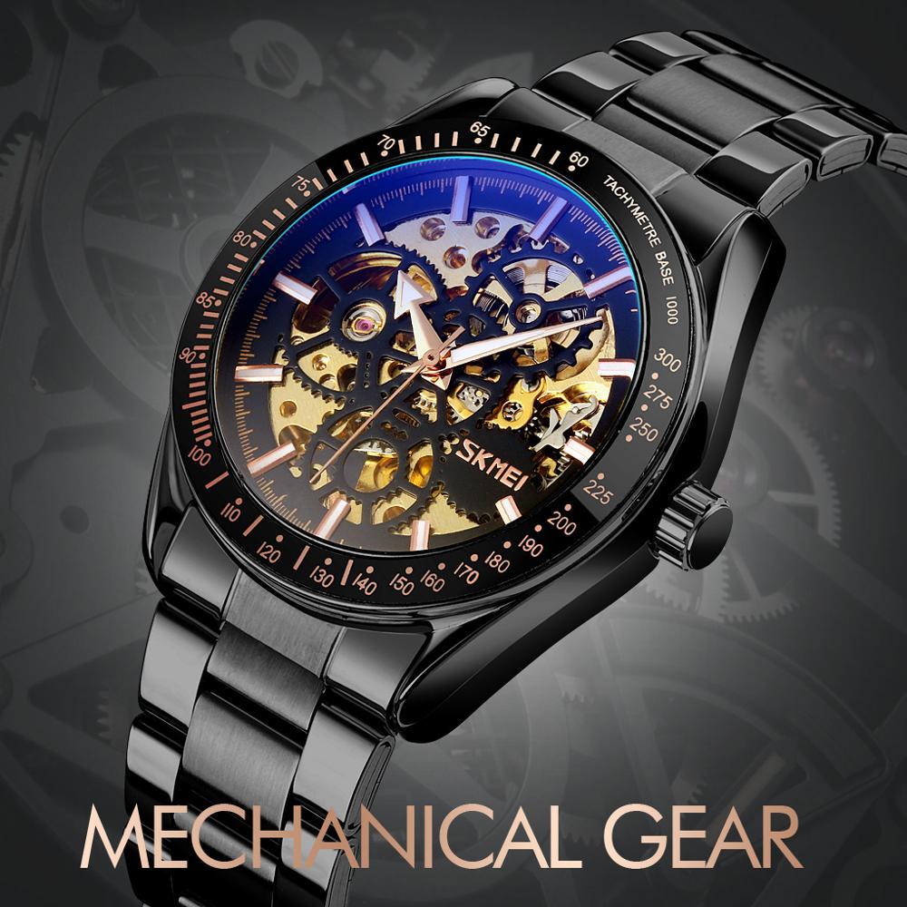 Luxury Automatic Mechanical Watches Men Wristwatches Hollow Stainless Steel SKMEI Luminous Skeleton Waterproof Relogio Masculino
