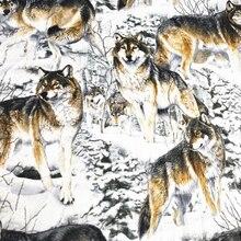 110cm de large Snowfield loups imprimé coton tissus pour accessoires de couture coton tissu bricolage à la main Quilting vêtements matériel