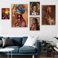modern canvas painting wall art african woman graffiti art posters and prints decorative pictures living room wall decoration