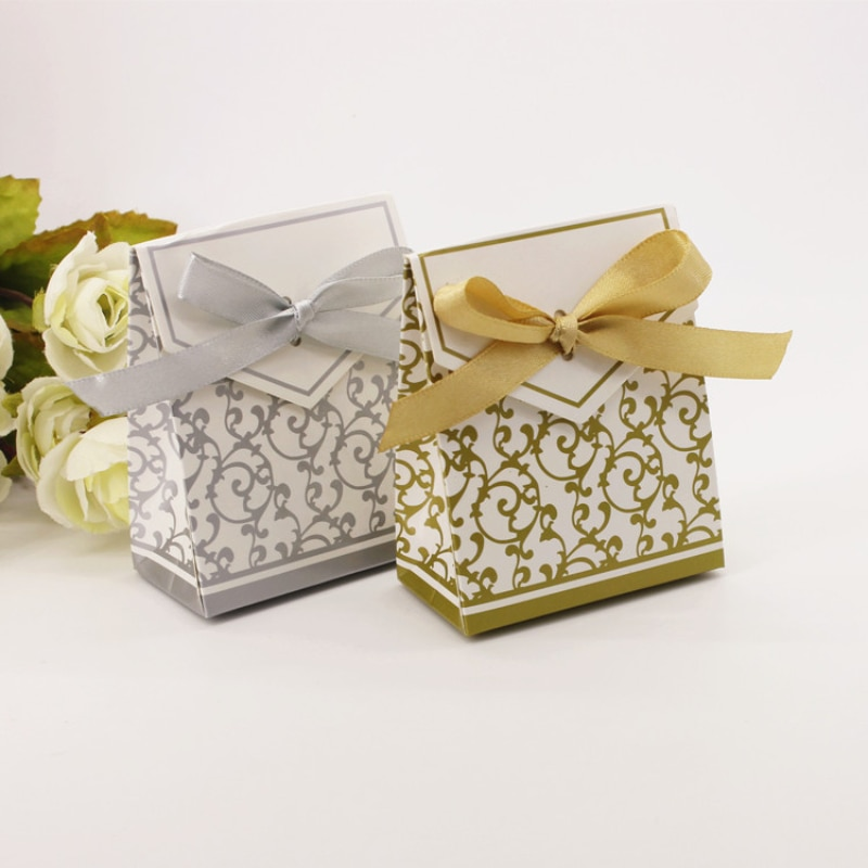 Wedding Candy Box Gold and Silver Years Small Gift Paper Bag Birthday Party Holiday Dress Up Supplie