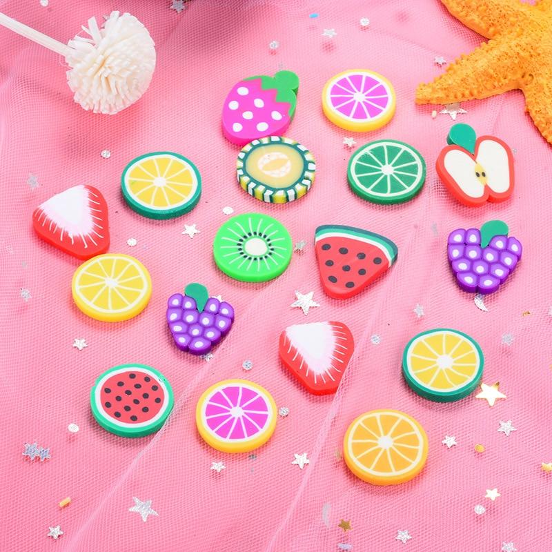 50Pcs Soft Clay Fruit Slices Polymer Clay Artificial Lemon Grape Flatback Cabochon DIY Hair Bows Decor Accessories 2-3cm