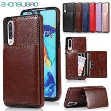 Portefeuille porte-cartes de crédit étui pour Hauwei P30 Mate 20 Mate20 Pro Lite Nova 4e support en cuir de luxe housse de protection antichoc
