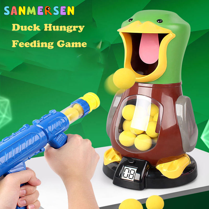 Pistola electrónica de juguete Shoot Hungry Duck, bola de seguridad de bala EVA para niños, juego de tiro para niños, pistola Popper potente
