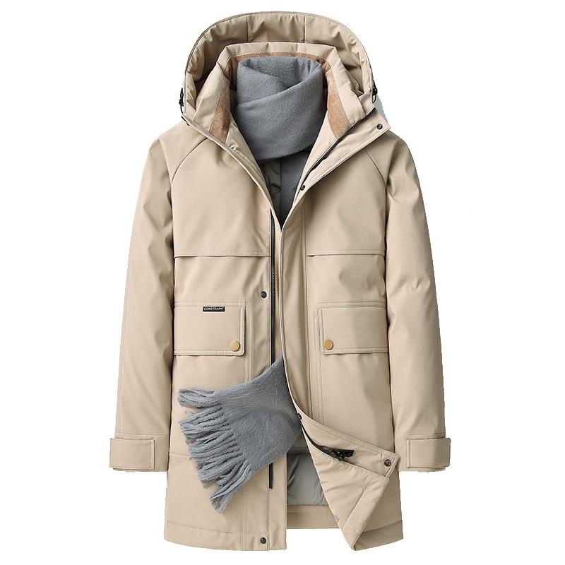 2021 зимние мужские длинные пуховики 90% пальто на белом утином пуху Khkai черные ветрозащитные пуховики размера плюс 4XL парки верхняя одежда