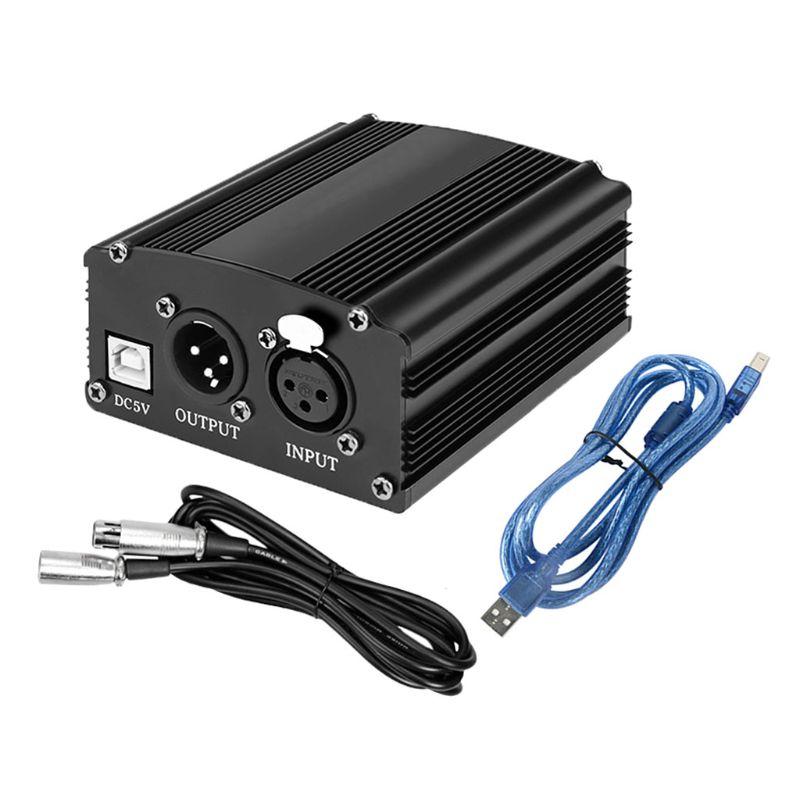 Portátil 1 canal 48V USB Phantom Power USB Cable XLR 3Pin micrófono Cable para cualquier condensador accesorios para micrófonos